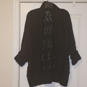 Lane Bryant black open front cable knit sweater